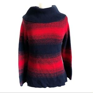 Tommy Hilfiger red and navy turtleneck sweater L